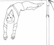 Coloriage et dessins gratuit Gymnastique barre asymétrique à imprimer