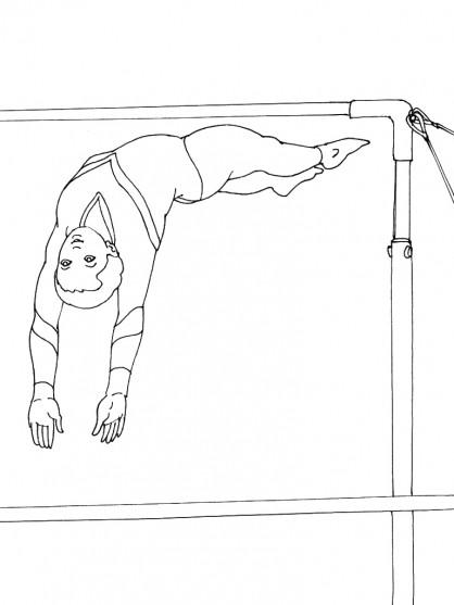 Coloriage et dessins gratuits Gymnastique barre asymétrique à imprimer
