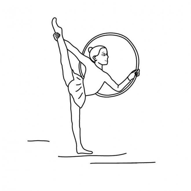 Coloriage gymnastique de cercle dessin gratuit imprimer - Dessin gymnaste ...