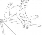 Coloriage Gymnastique et Barre