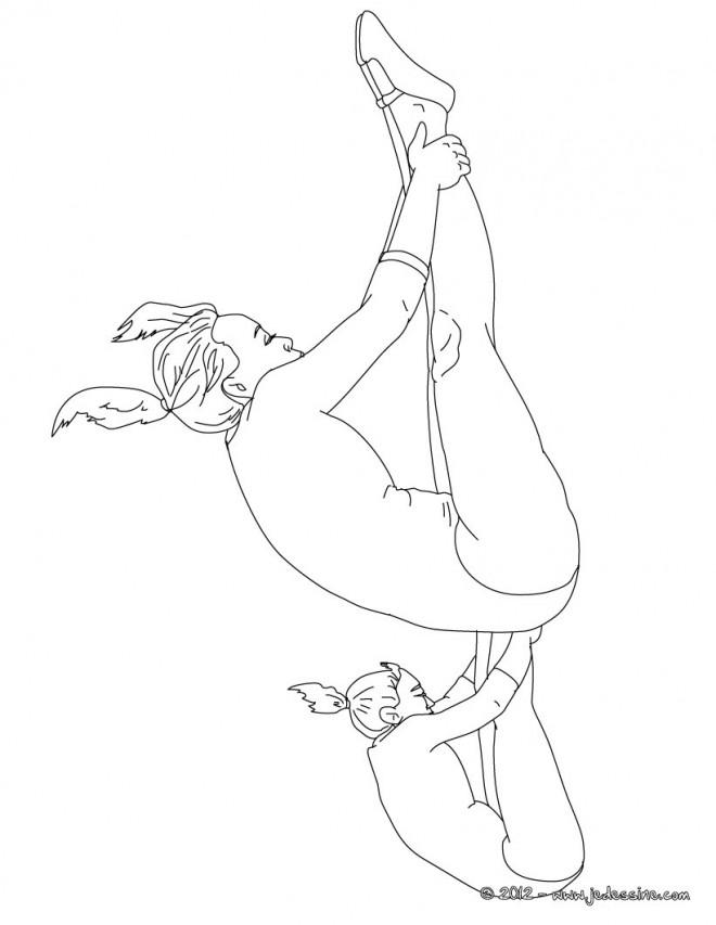 Coloriage et dessins gratuits Gymnastique la roulade à imprimer