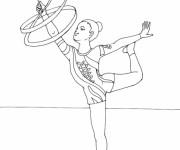 Coloriage Gymnastique rythmique avec corde