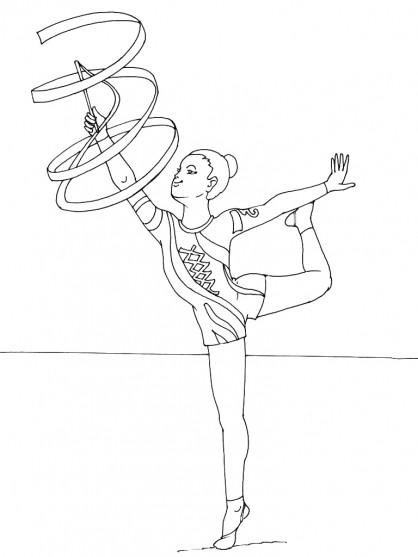 Coloriage gymnastique rythmique avec corde dessin gratuit - Dessin de grs ...
