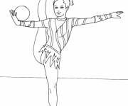 Coloriage et dessins gratuit Gymnastique rythmique  ballon à imprimer