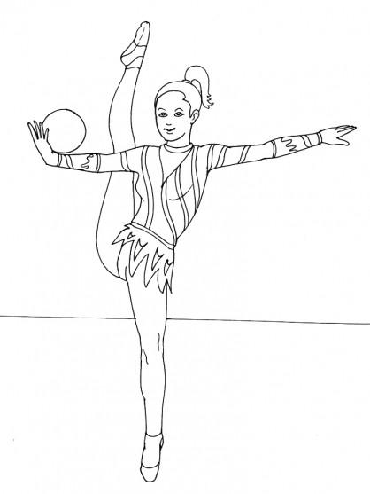 Coloriage gymnastique rythmique ballon dessin gratuit imprimer - Dessin gymnaste ...