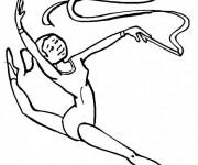Coloriage et dessins gratuit Gymnastique rythmique en noir à imprimer