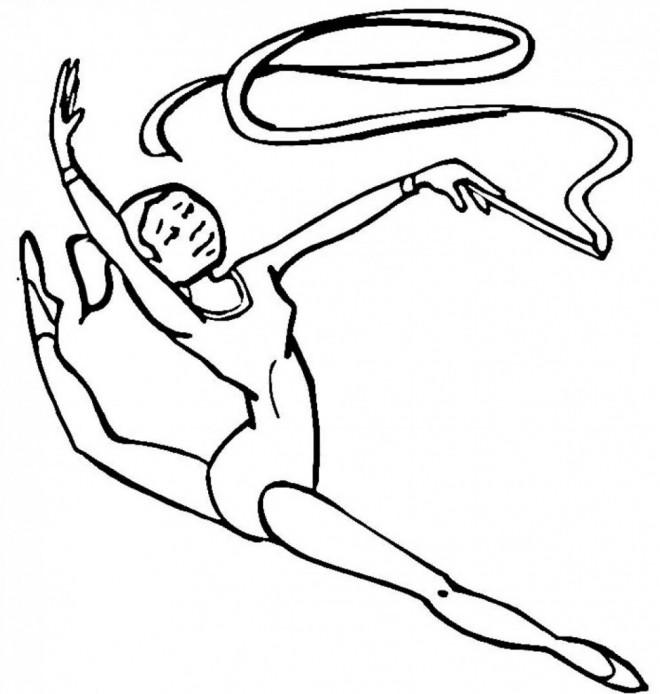 Coloriage et dessins gratuits Gymnastique rythmique en noir à imprimer
