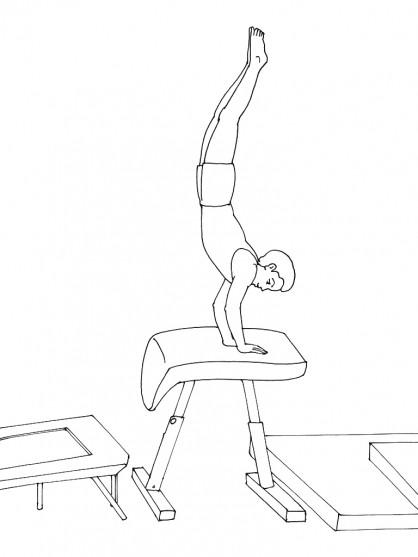 Coloriage et dessins gratuits Gymnastique saut de cheval à imprimer