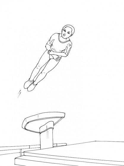 Coloriage et dessins gratuits Jeune gymnaste  en l'air à imprimer