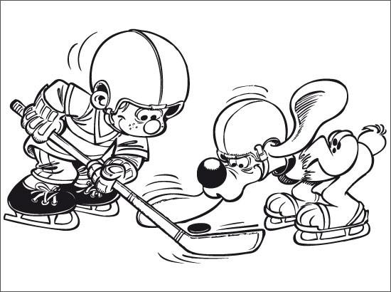 Coloriage enfant et chien jouent au hockey dessin gratuit imprimer - Dessin hockey sur glace ...