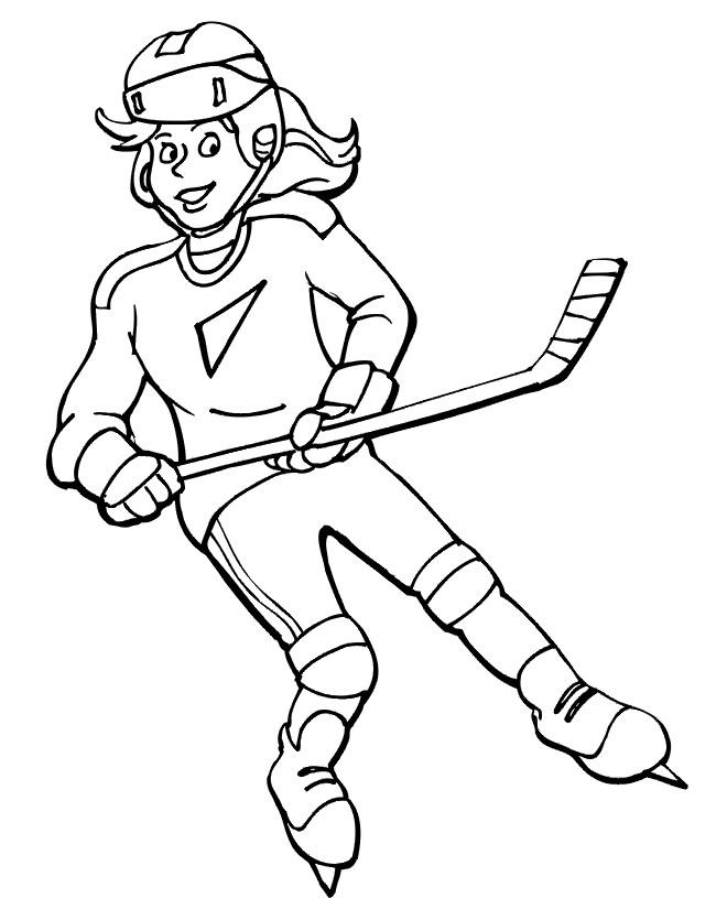 Coloriage et dessins gratuits Fille joue au Hockey à imprimer