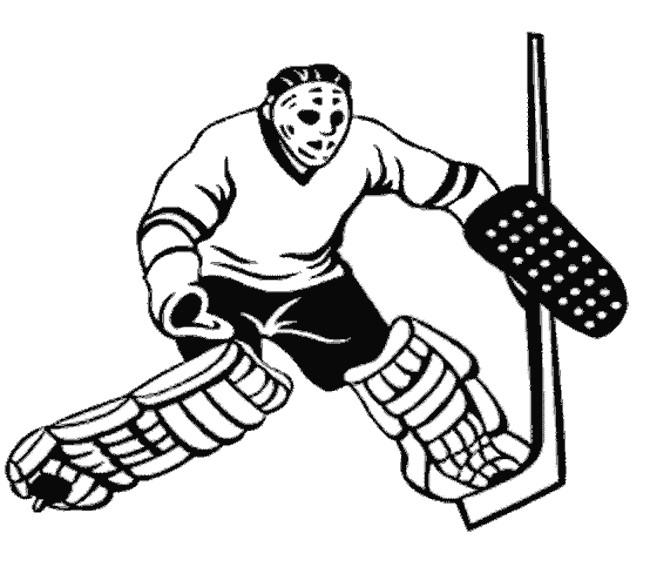 Coloriage et dessins gratuits Gardien de Hockey en noir et blanc à imprimer