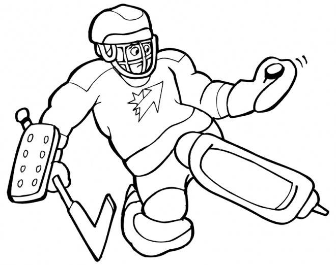 Coloriage et dessins gratuits Gardien de Hockey intercepte la balle à imprimer