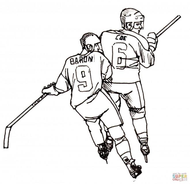 Coloriage et dessins gratuits Hockey en ligne à imprimer