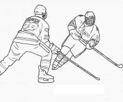 Coloriage et dessins gratuit Hockey sur glace en noir à imprimer