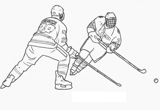 Coloriage et dessins gratuits Hockey sur glace en noir à imprimer