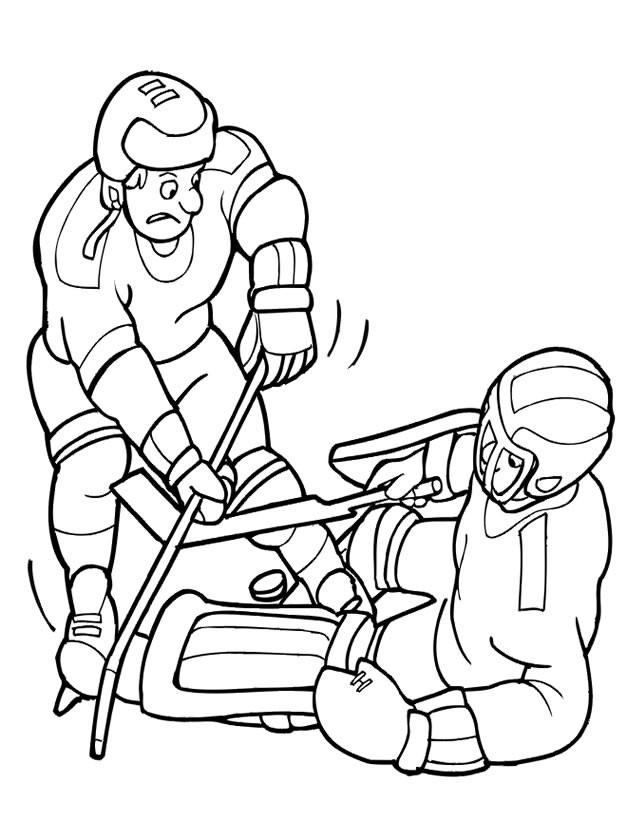 Coloriage et dessins gratuits Hockey sur glace et La Confrontation à imprimer