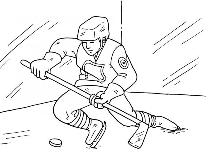 Coloriage et dessins gratuits Joueur de Hockey à découper à imprimer