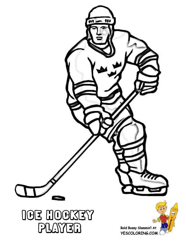 Coloriage et dessins gratuits Joueur de Hockey au crayon noir à imprimer