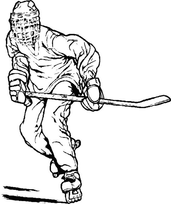 Coloriage et dessins gratuits Joueur de Hockey dessiné au crayon à imprimer