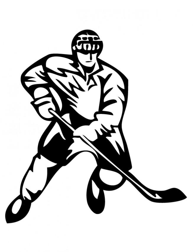 Coloriage et dessins gratuits Joueur de Hockey en vecteur à imprimer
