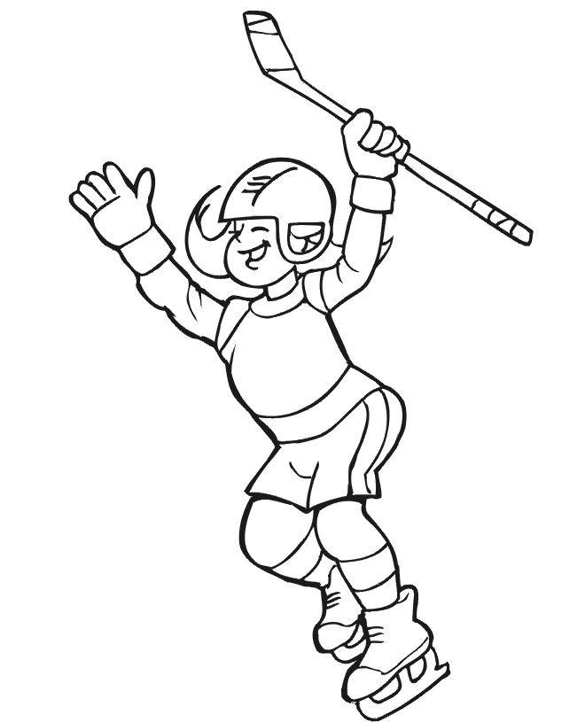 Coloriage et dessins gratuits Joueur de Hockey heureuse à imprimer