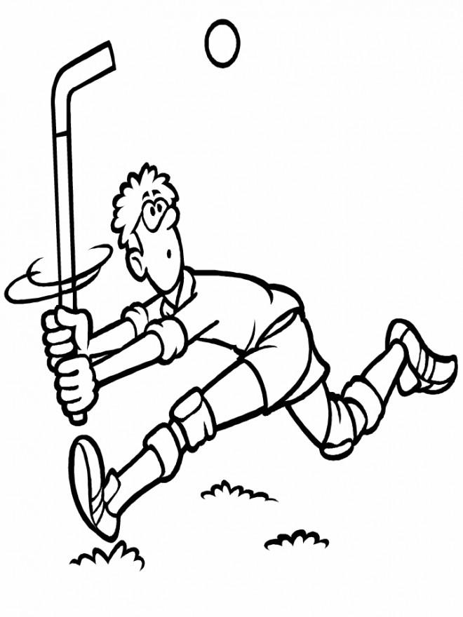 Coloriage et dessins gratuits Joueur de Hockey qui fait rire à imprimer