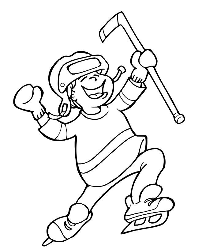 Coloriage et dessins gratuits Joueur de Hockey rigolo à imprimer