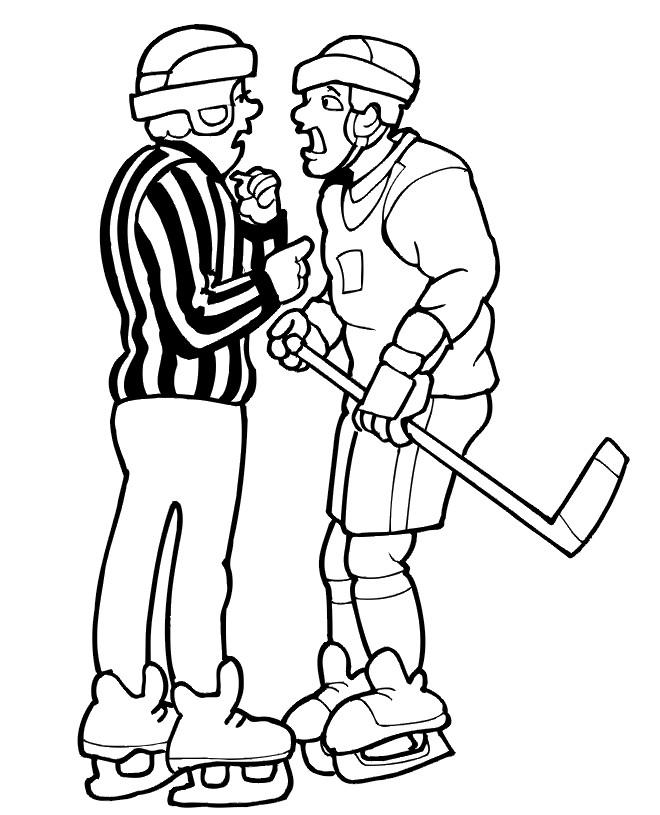 Coloriage et dessins gratuits Joueur et Arbitre de Hockey sur Glace à imprimer