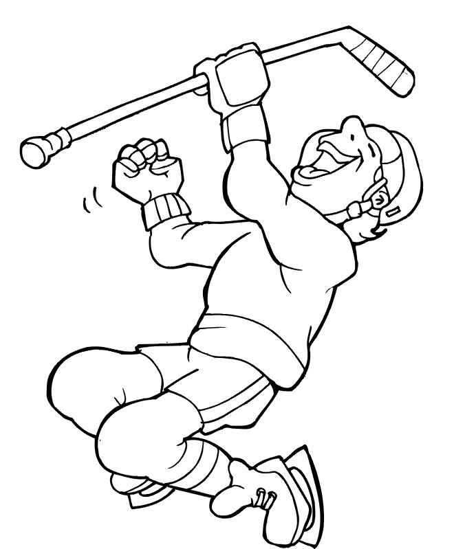 Coloriage et dessins gratuits Joueur Hockey content à imprimer