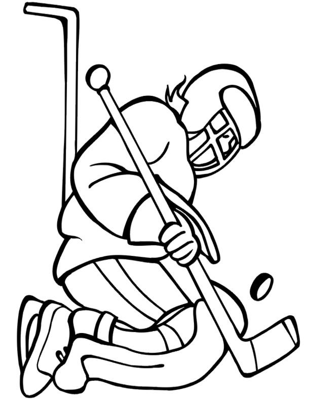 Coloriage et dessins gratuits Joueur Hockey vecteur à imprimer