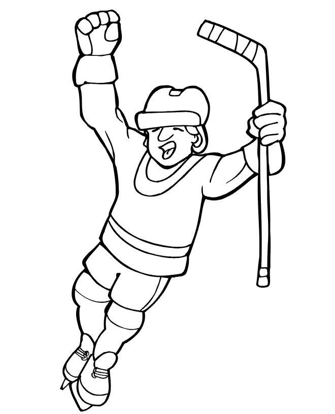 Coloriage et dessins gratuits Joyeux Joueur de Hockey à imprimer