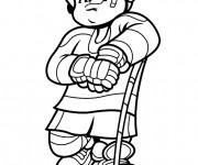 Coloriage et dessins gratuit Petit Joueur de Hockey sur Glace à imprimer