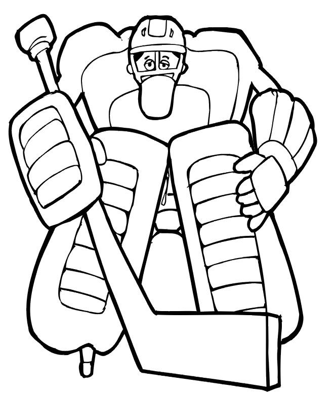 Coloriage et dessins gratuits Placement de gardien de Hockey à imprimer