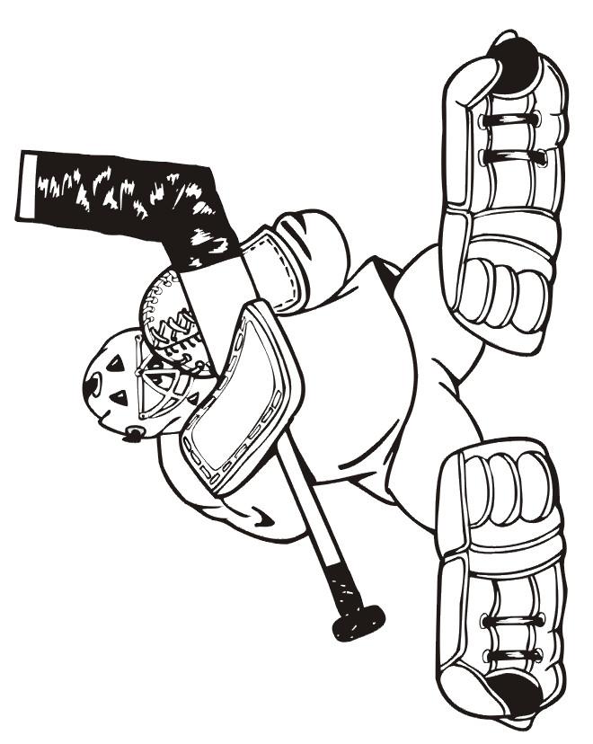 Coloriage et dessins gratuits Position de Gardien de Hockey à imprimer