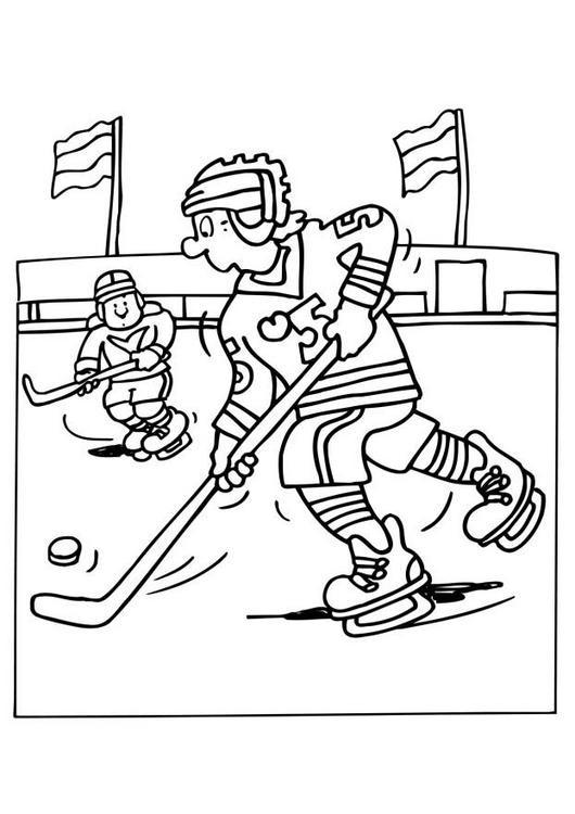 Coloriage et dessins gratuits Une partie de Hockey sur glace à imprimer