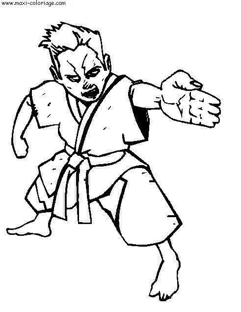 Coloriage et dessins gratuits art martial enfant en attaque à imprimer