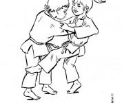Coloriage Enfants jouent  au Judo