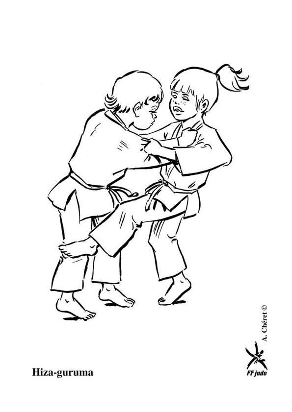Coloriage et dessins gratuits Enfants jouent  au Judo à imprimer
