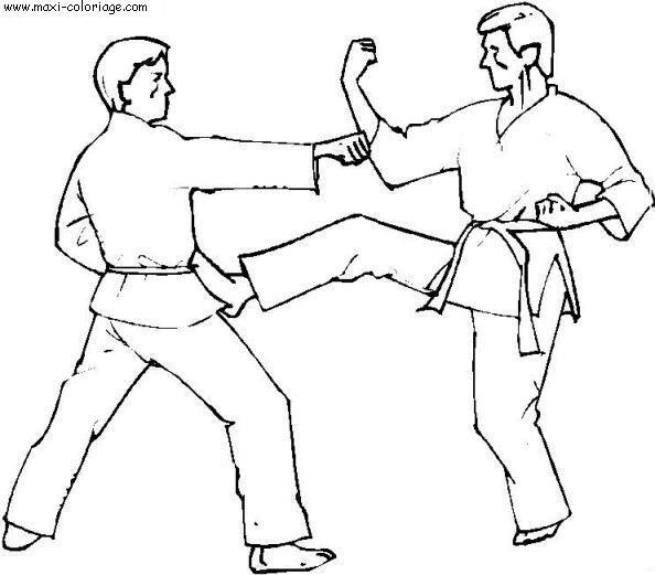 Coloriage et dessins gratuits Judo attaque à imprimer