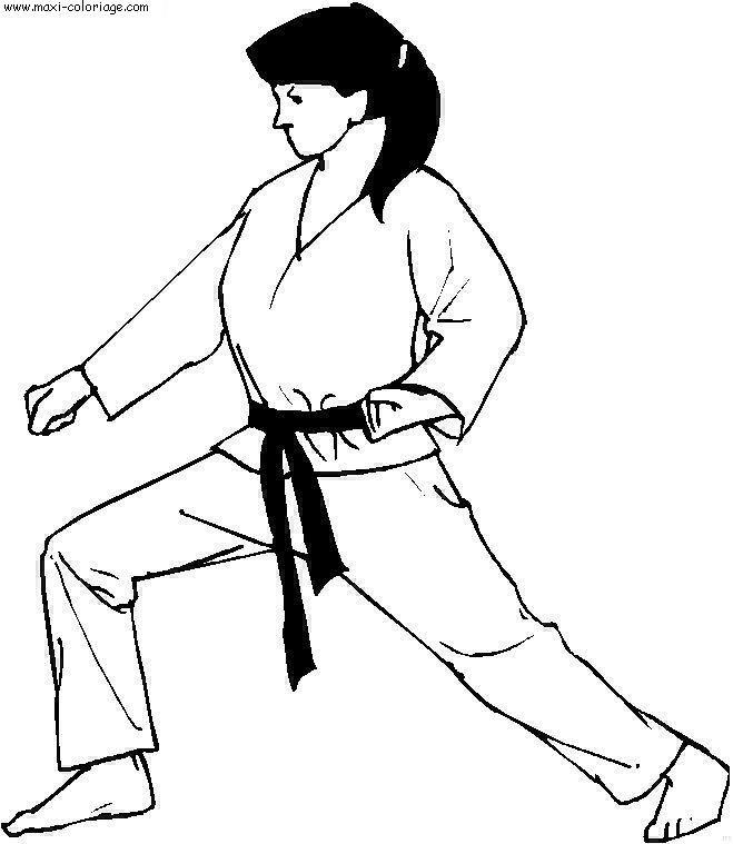 Coloriage Judo Femme En Noir Et Blanc Dessin Gratuit à Imprimer