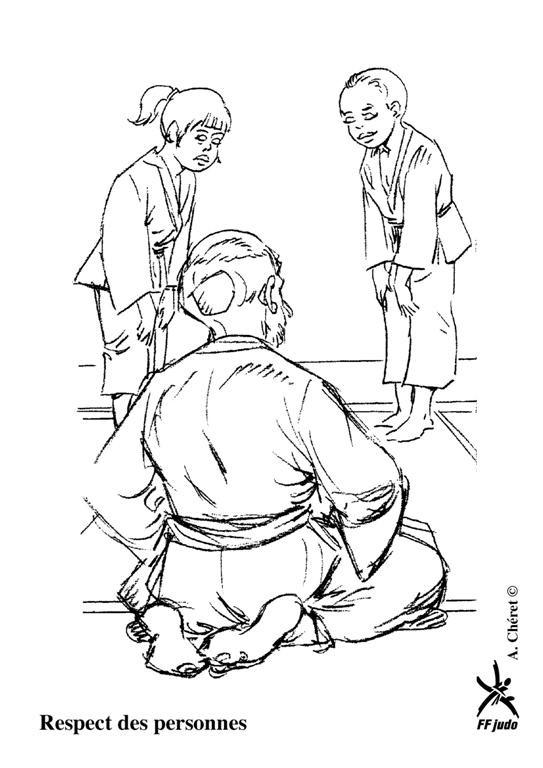 Coloriage et dessins gratuits Judo maître et enfants à imprimer