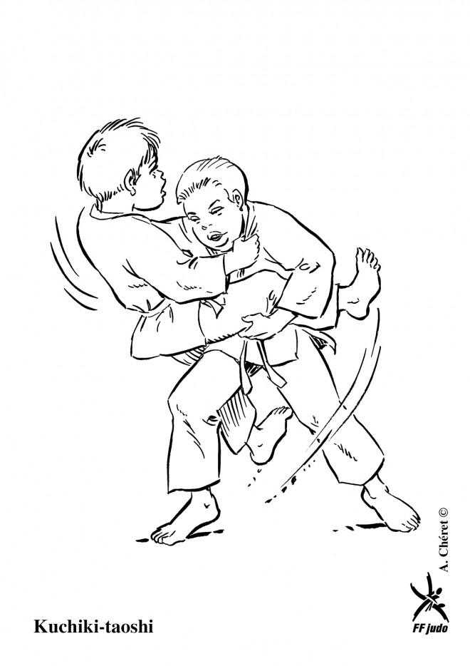 Coloriage et dessins gratuits Judo maternelle en noir à imprimer