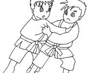 Coloriage et dessins gratuit Judo pour enfant à imprimer