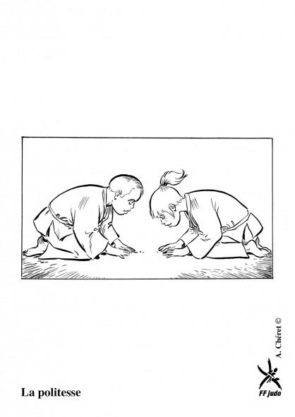 Coloriage et dessins gratuits Judo respect avant le combat à imprimer