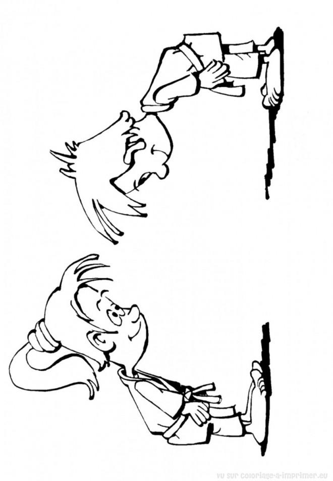 Coloriage et dessins gratuits Judo Salutation à imprimer