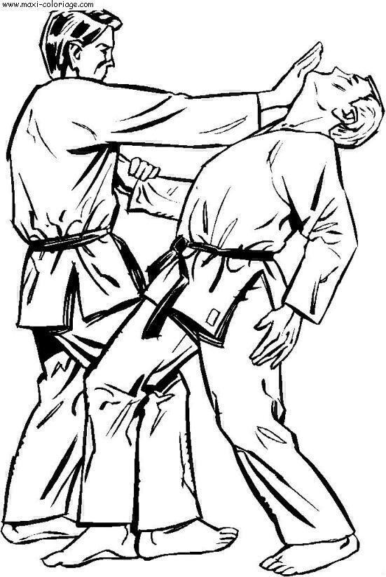 Coloriage et dessins gratuits Judo technique à imprimer