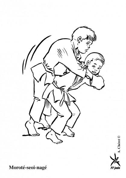 Coloriage et dessins gratuits Judo technique Ippon à imprimer