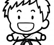Coloriage et dessins gratuit Judo tout en riant à imprimer