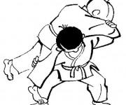 Coloriage et dessins gratuit Judo Waza Ari à imprimer